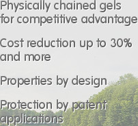 Physically chained gels  for competitive advantage   Cost reduction up to 30%  and more   Propert...